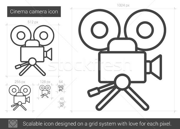 Foto d'archivio: Cinema · fotocamera · line · icona · vettore · isolato