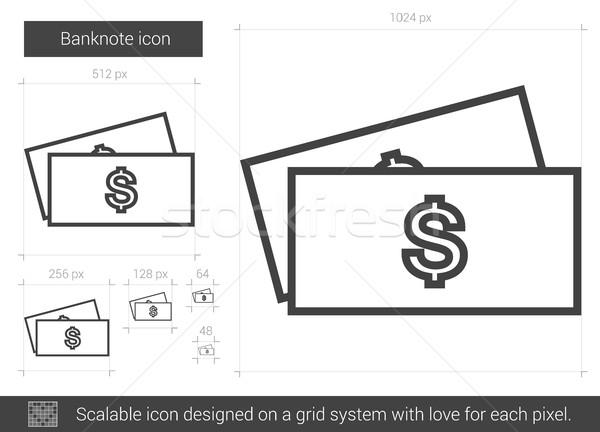Bankbiljet lijn icon vector geïsoleerd witte Stockfoto © RAStudio