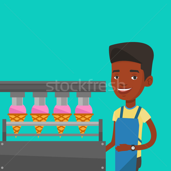 Worker of factory producing ice-cream. Stock photo © RAStudio