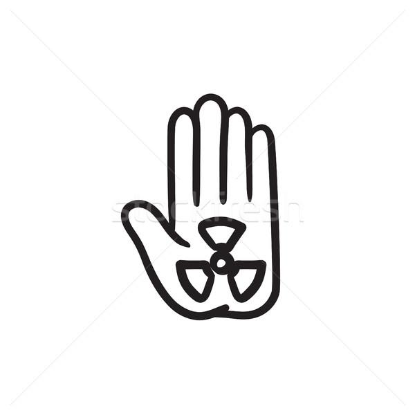 излучение знак Palm эскиз икона вектора Сток-фото © RAStudio