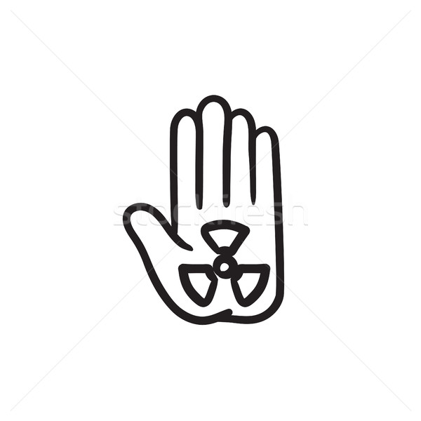Ionizing radiation sign on a palm sketch icon. Stock photo © RAStudio
