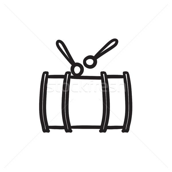 Drum with sticks sketch icon. Stock photo © RAStudio