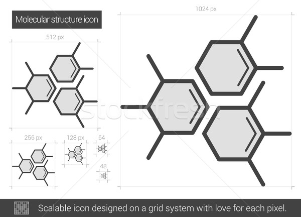 Moleculair structuur lijn icon vector geïsoleerd Stockfoto © RAStudio