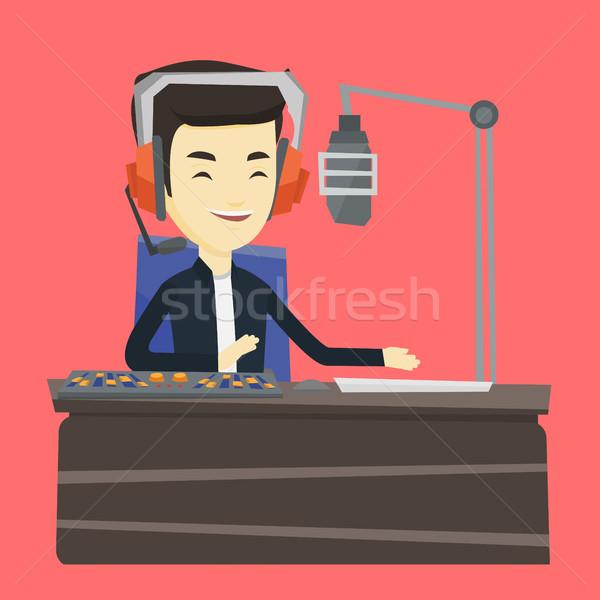 Travail radio asian casque gare micro Photo stock © RAStudio