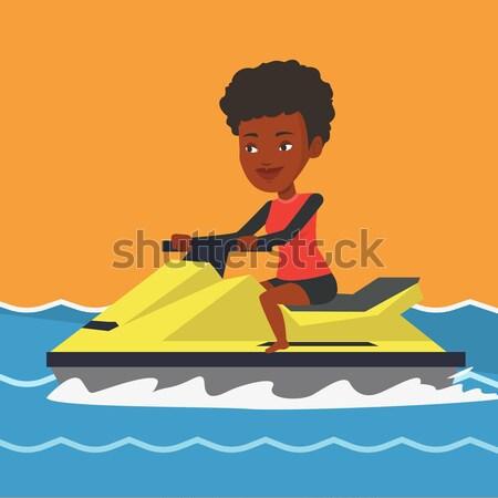 Afrikai nő képzés jet ski tenger derűs Stock fotó © RAStudio