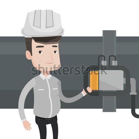 Stockfoto: Exploitant · detector · gas · pijpleiding · plant
