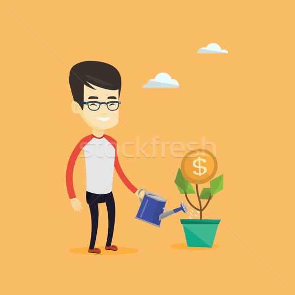 üzletember locsol pénz virág üzletember ázsiai Stock fotó © RAStudio