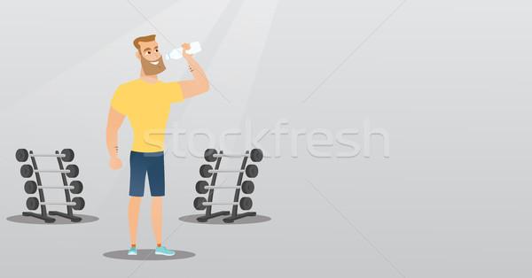 спортсмен питьевая вода кавказский человека спортзал молодые Сток-фото © RAStudio