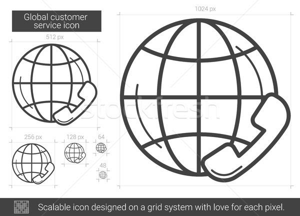 Stock fotó: Globális · ügyfélszolgálat · vonal · ikon · vektor · izolált