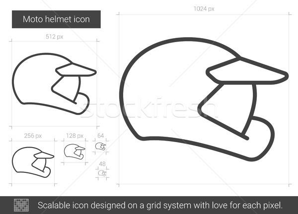 Moto helm lijn icon vector geïsoleerd Stockfoto © RAStudio