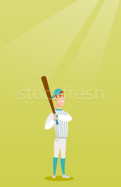 Jovem caucasiano jogador de beisebol bat sorridente Foto stock © RAStudio