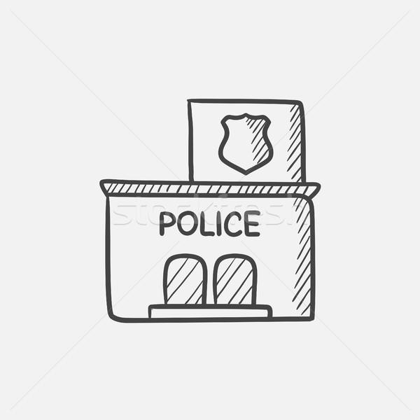 警察 駅 スケッチ アイコン ウェブ 携帯 ストックフォト © RAStudio