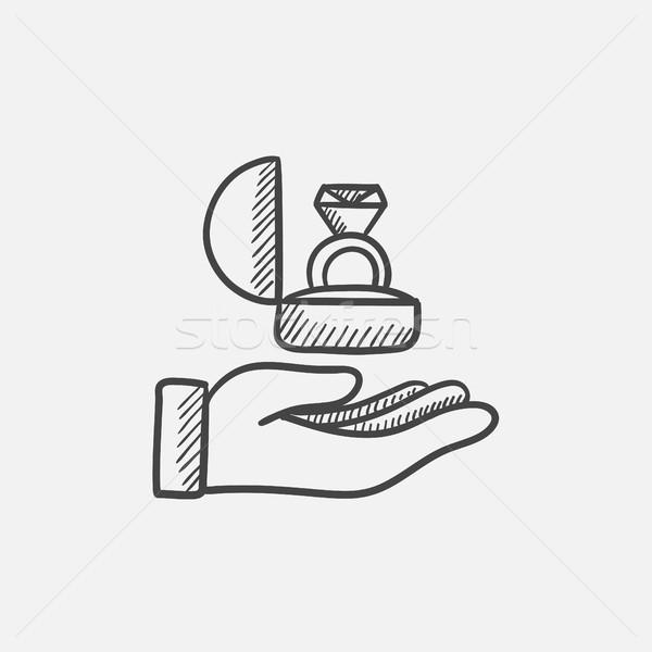 Stock fotó: Kéz · tart · ajándék · doboz · gyűrű · rajz · ikon