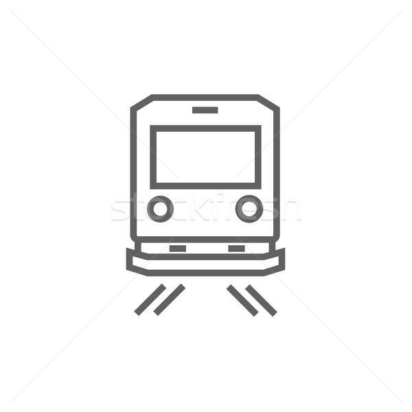 Achteraanzicht trein lijn icon hoeken web Stockfoto © RAStudio