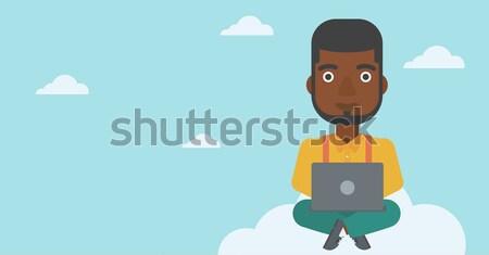 Férfi felhő alapú technológia technológia ül felhő laptop Stock fotó © RAStudio