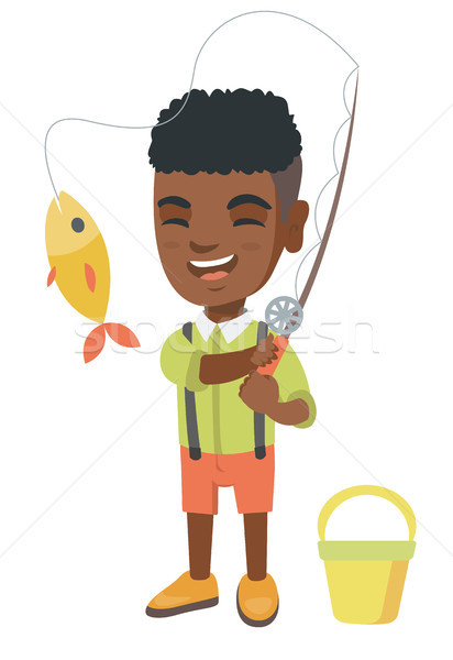 Little boy holding fishing rod with fish on hook. Stock photo © RAStudio