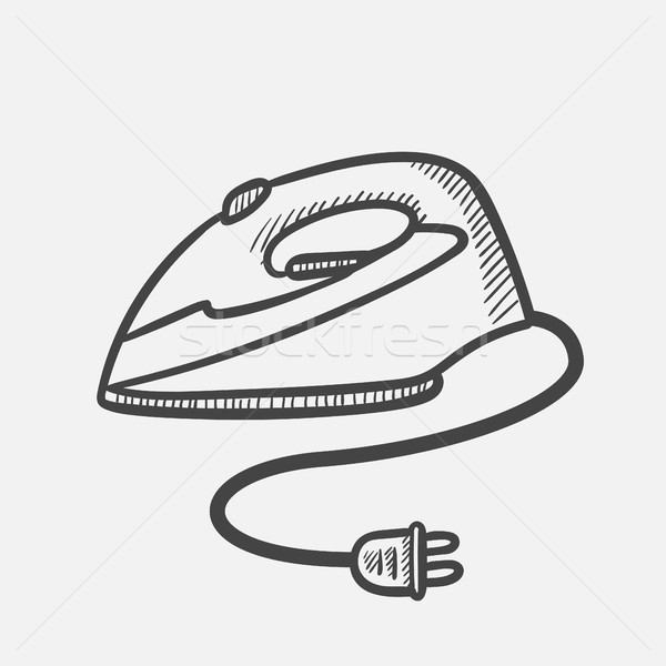 Modern Electric Iron Hand Drawn Sketch Icon Vector Illustration