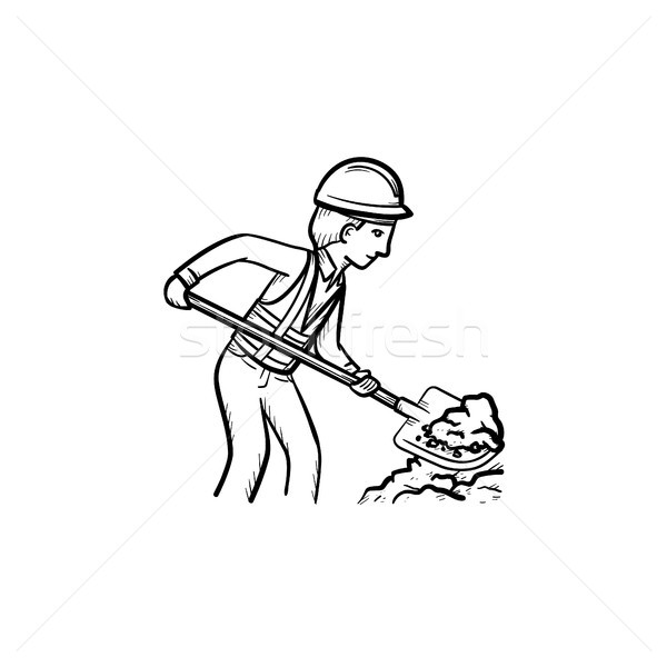 Builder with shovel hand drawn sketch icon. Stock photo © RAStudio