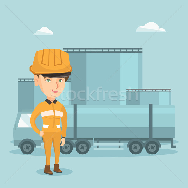 Girl on the background of fuel truck and oil plant Stock photo © RAStudio