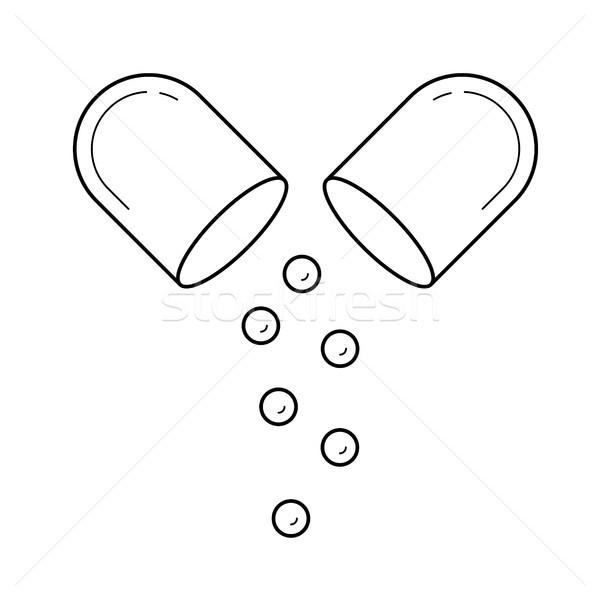 Capsule lijn icon pil drug vector Stockfoto © RAStudio