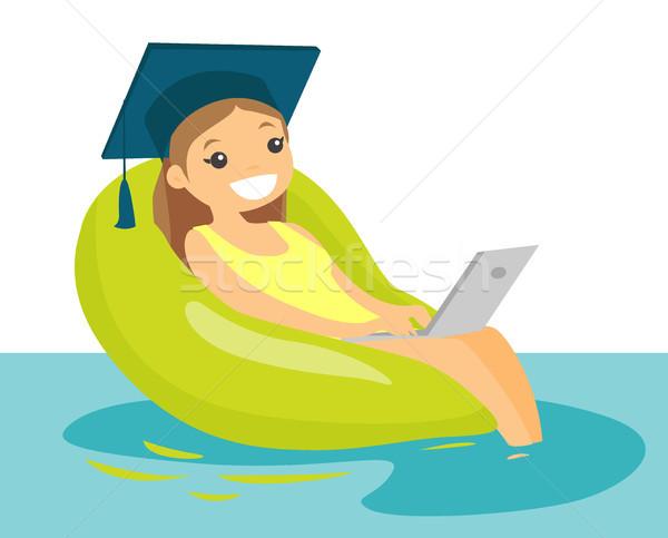 Foto stock: Posgrado · de · trabajo · portátil · piscina · jóvenes · caucásico