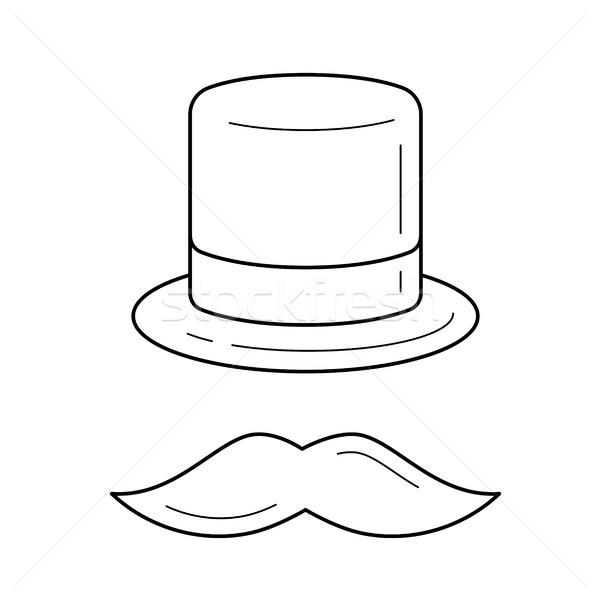 Mustache and top hat line icon. Stock photo © RAStudio