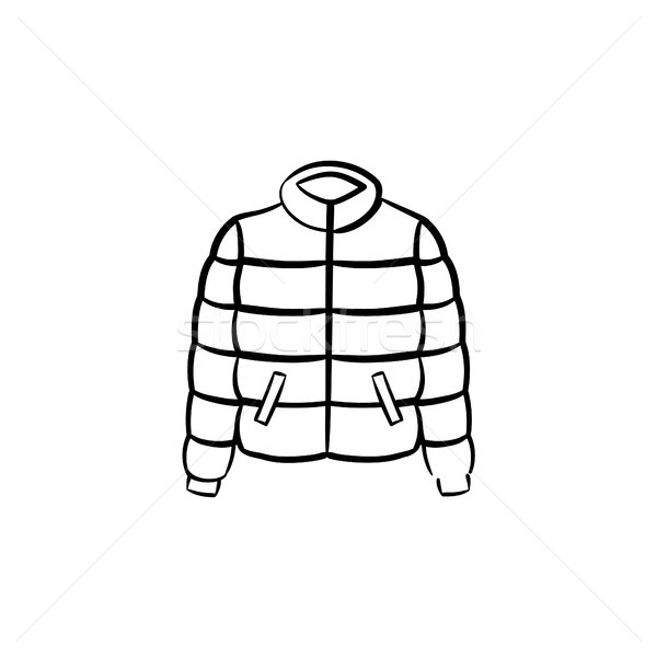 Down feather jacket hand drawn sketch icon. Stock photo © RAStudio