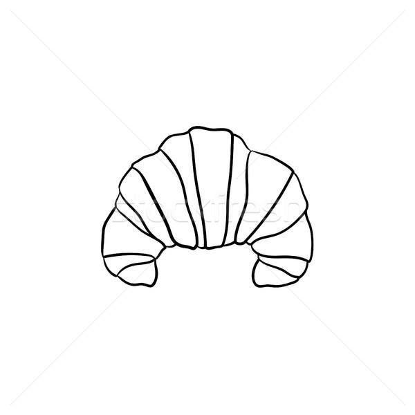 French croissant hand drawn sketch icon. Stock photo © RAStudio