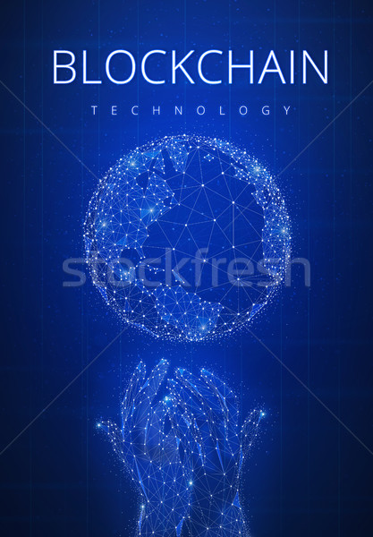 Blockchain technology futuristic hud banner with globe. Stock photo © RAStudio