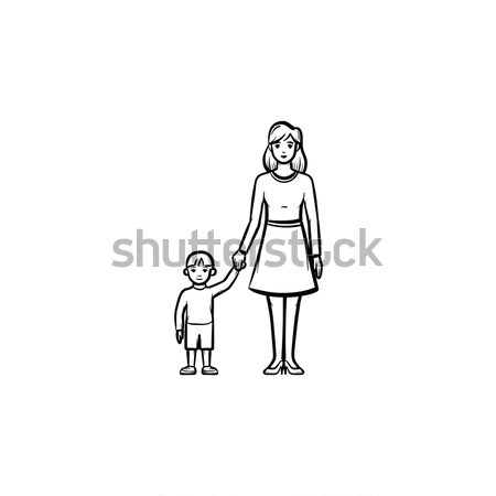 Anya gondoskodó gyermek kézzel rajzolt skicc firka Stock fotó © RAStudio