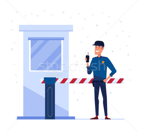 Security company employee with portable radio in front of the closed security gate. Stock photo © RAStudio