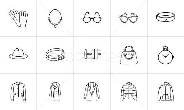 Clothing and accessory sketch icon set. Stock photo © RAStudio