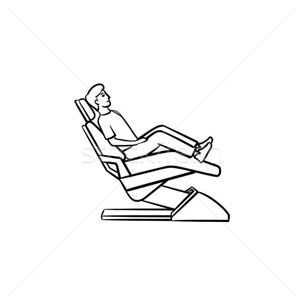 Dental chair with a patient hand drawn outline doodle icon. Stock photo © RAStudio