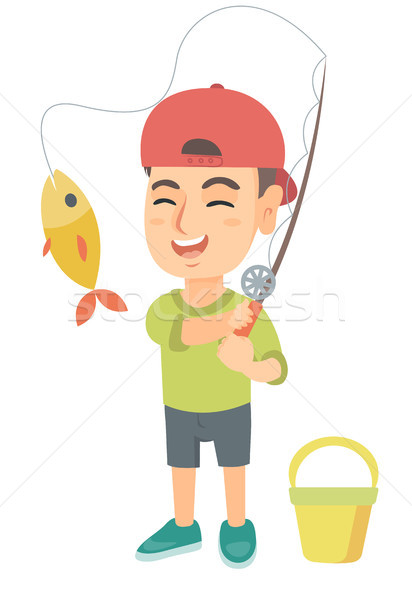 Pequeno menino vara de pesca peixe gancho Foto stock © RAStudio