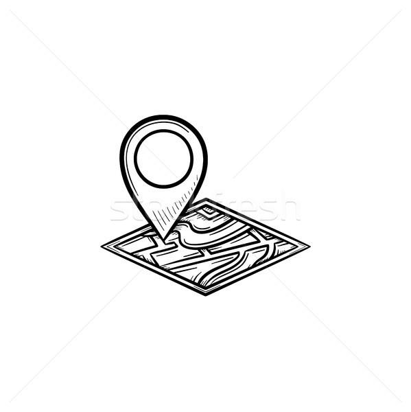 Casa ubicación dibujado a mano garabato icono Foto stock © RAStudio