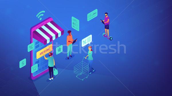 Compras en línea wifi ilustración usuarios compras Foto stock © RAStudio