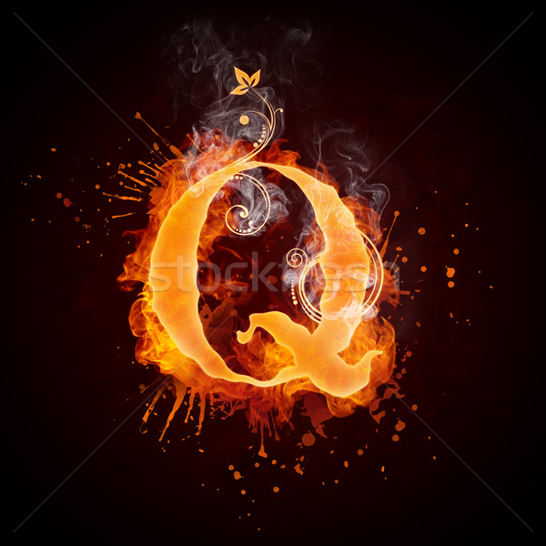 огня Swirl буква q изолированный черный компьютер Сток-фото © RAStudio