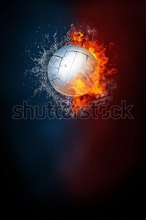 フラグ 火災 コンピューターグラフィックス 星 絵画 赤 ストックフォト © RAStudio