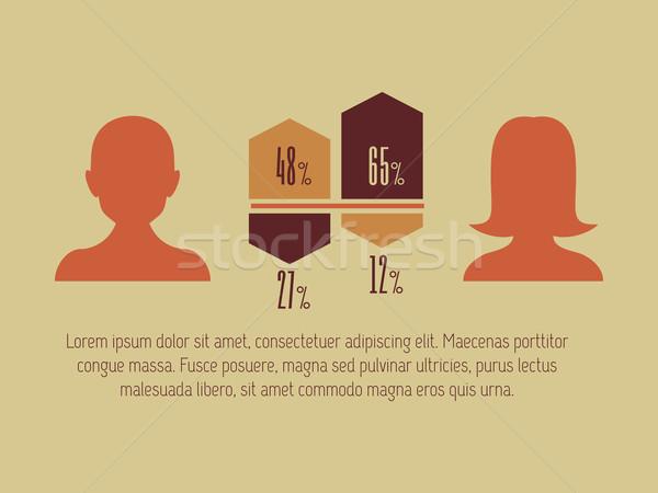 ソーシャルメディア インフォグラフィック ベクトル テンプレート 男性 グラフ ストックフォト © RAStudio