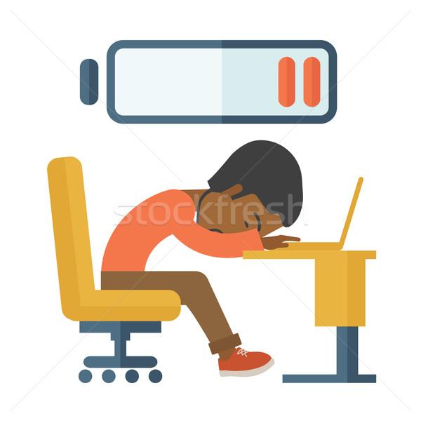 сотрудник осень спящий столе устал черный Сток-фото © RAStudio