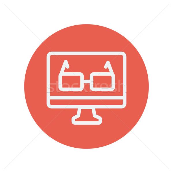 Szemüveg számítógépmonitor vékony vonal ikon háló Stock fotó © RAStudio