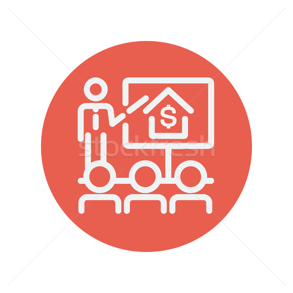 Real Estate agent seminar on how to earn money thin line icon Stock photo © RAStudio