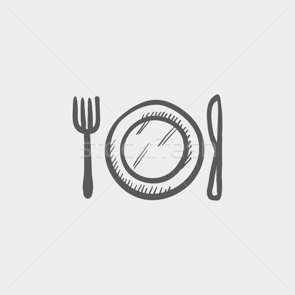 Plate, knife and fork sketch icon vector illustration © Andrei