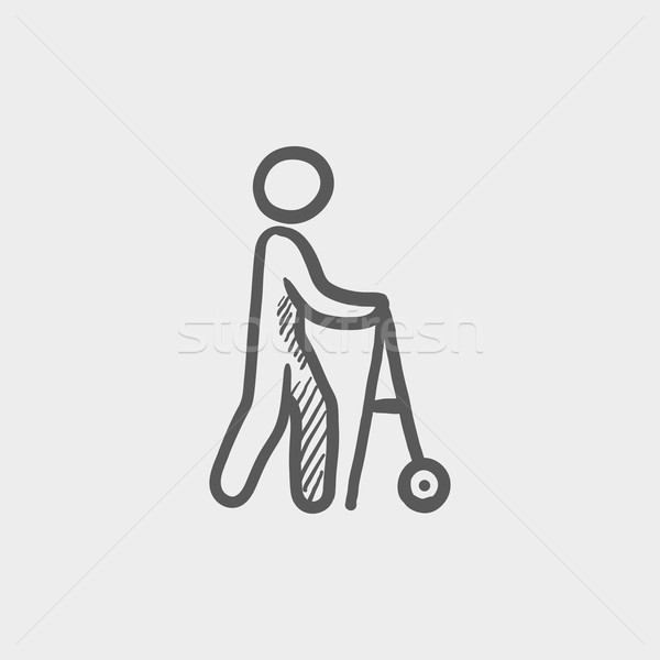 Disabled person with walking sketch icon Stock photo © RAStudio