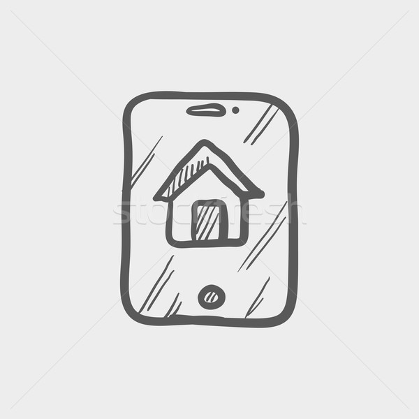 Stock photo: Electronic keycard sketch icon