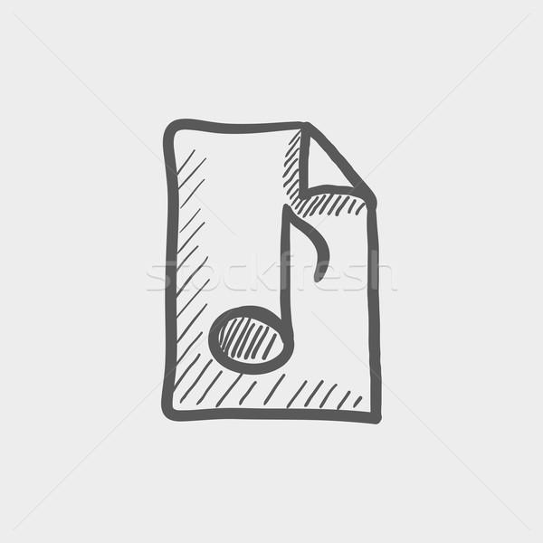 Origami musical note in a paper sketch icon Stock photo © RAStudio