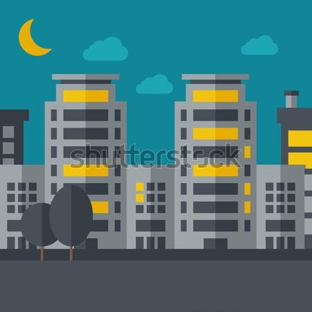 Night scenery of building city with moon Stock photo © RAStudio