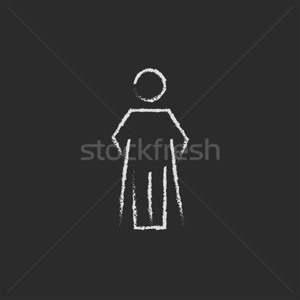 Hombre muletas icono tiza dibujado a mano Foto stock © RAStudio