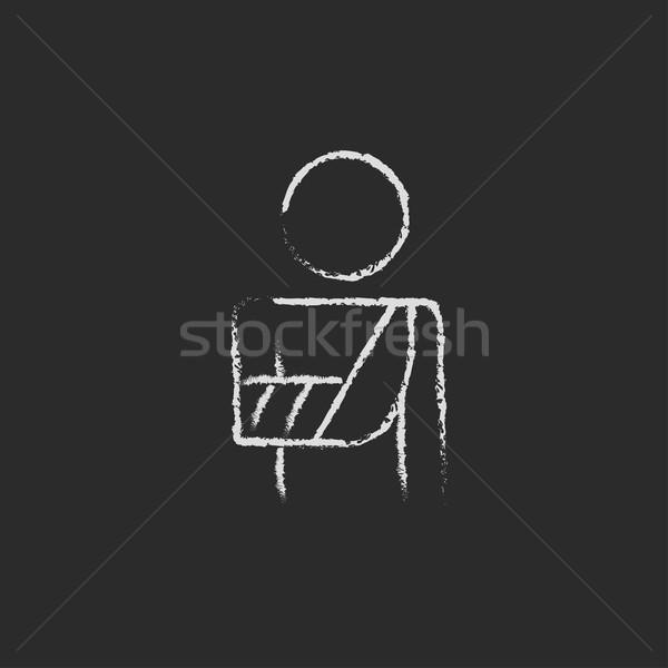 раненый человека икона мелом рисованной Сток-фото © RAStudio