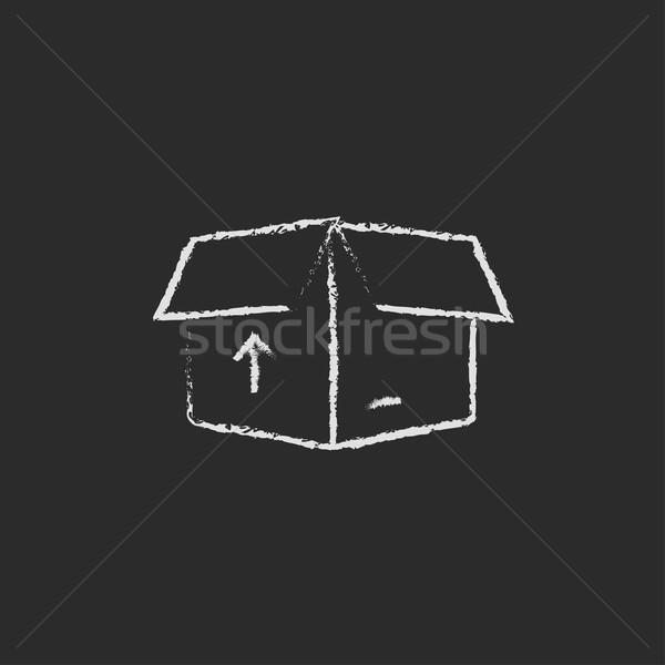 Stok fotoğraf: Açmak · kutu · ok · ikon · tebeşir